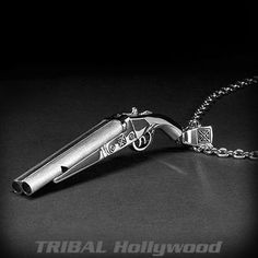 The shotgun of this Ecks sterling silver men's necklace is a working whistle that's forged with realistic details like long double barrels and a dual trigger. Mens Silver Necklace, Men Necklace, Sterling Silver Jewelry, Silver Rings, King Baby Jewelry, Designer Jewelry Brands, Popular Necklaces, Bullet Necklace, Bullet Jewelry