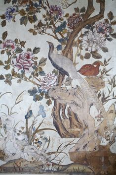 Detail of the Chinese wallpaper in the Drawing Room at Ightham Mote, Kent, UK. ©National Trust Images/Nadia Mackenzie