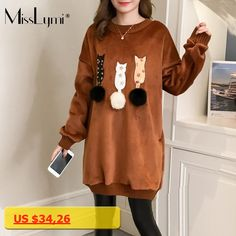 MissLymi L-4XL Plus Size Women Velvet Sweatshirt 2017 Winter Fleece Cartoon Cat Patches Long Sleeve Medium-long Pullovers Tops