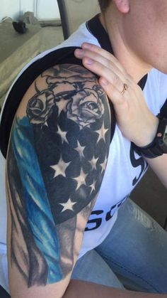 Thin blue line tattoo! Flag