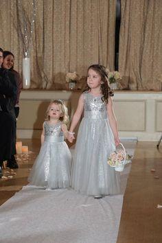 Flower girl dress for 2015 wedding Floor Length Shiny Sequins Custom Made lovely Little Less Chiffon A line V neck Tulle Formal Gowns