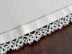 Tatting on Hemstiched Linen