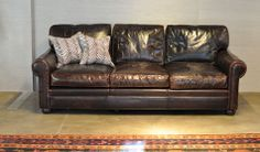 Hudson: Brown Leather Sofa with Roll Arms and Deep Cushions