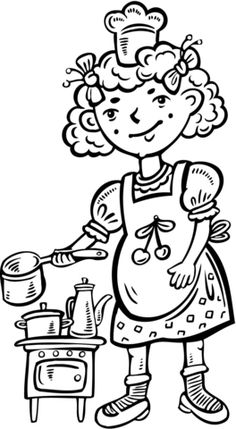 Child Playing Chef In The Kitchen Coloring Page