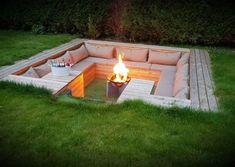 Indoor Garden, Outdoor Gardens, Patio Design, Garden Design, Fireplace Garden, Fireplace Mantle, Fireplace Ideas, Types Of Fire, Pallet Furniture Designs