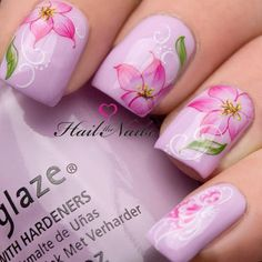 Nail Art Wraps Water Transfers Decals Pink by Hailthenails Tulip Nails, Orchid Nails, Lily Nails, Rose Nails, Orchid Salon, Flower Nail Designs, Nail Art Designs, Tropical Nail Designs, Spring Nails