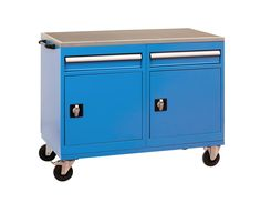 Heavy Duty Workshop Trolley comes with 2 drawers and 2 cupboards.