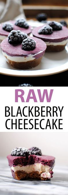 Raw Blackberry Cheesecakes are raw, vegan, gluten free, and delicious. Just 8 ingredients: coconut milk, shredded coconut, maple syrup, dates, walnuts, cashews, coconut oil, and blackberries #cheesecake #vegancheesecake #rawcheesecake #blackberrycheesecak
