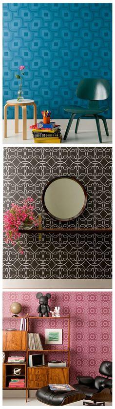 Papeis de parede da Coleção Grafismo Rosenbaum® produzido para a marca Bobinex.