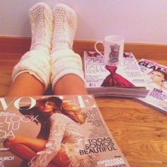 .Quiet time with nothing but magazine, comfy clothes and tea.