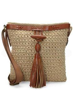 Natural Crochet Tassel Across Body Bag