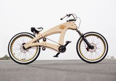 """DIY Wooden Lowrider Bicycle - DIY lowrider wooden beach cruiser bicycle by Jurgen Kuipers. """"constructed out of wooden panels, the bike also comes available as scale model kit – with all the required parts to make it fully functional"""" Cruiser Bikes, Velo Beach Cruiser, Bmx Bikes, Wooden Bicycle, Wood Bike, Velo Design, Bicycle Design, Scooter Moto, Lowrider Bicycle"""