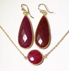 Precious Ruby 2-pc SET Necklace & Earrings 14k Gold Bezel Genuine Ruby Earrings Ruby Necklace July Birthstone Ruby Jewelry BZ-SET-152-Ruby/g by elizabethlydonstudio on Etsy