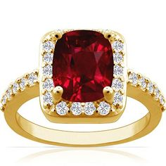 18K Yellow Gold Cushion Cut Ruby Ring With Sidestones (GIA Certificate) | GlobalFeri.com Fine and Fashion Jewelry