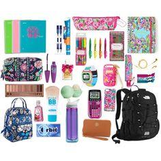Preppy back to school  #preppy #school Middle School Supplies, School Supplies Highschool, Back To School Bags, School Kit, Make School, School Ideas, School Stuff, Lilly Pulitzer, School Survival Kits