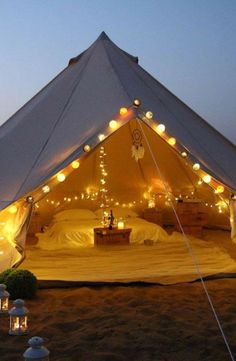 Ah, the art of glamping. Combining chic ideas with the outdoors, glamping is a way to have fun and be comfortable. Not quite camping yet not quite a s. Bell Tent Camping, Camping Glamping, Camping Theme, Beach Camping, Outdoor Camping, Camping Hacks, Camping Ideas, Camping Checklist, Romantic Camping