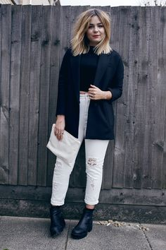 white jeans - cropped tee
