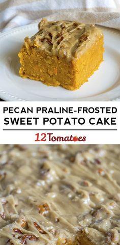 Pecan Praline Sweet Potato Cake