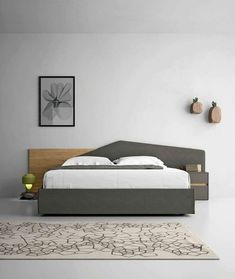 Get great styles of double bed headboards for your bedrooms double bed headboards double bed / contemporary / with upholstered headboard / upholstered minimal BQZUFQR Bed Headboard Design, Bedroom Bed Design, Headboards For Beds, Queen Headboard, Double Headboard, Modern Bedroom Furniture, Bed Furniture, Furniture Vintage, Furniture Makeover