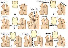 Моделирование лифа при помощи перемещения нагрудной вытачки а — в конец плечевого среза;  б — в боковой срез;  в — в боковой срез к линии талии;  г — к линии талии;  д — в горловину;  eI — в середину переда (верхней вытачки);  eII—в середину переда (обеих вытачек);
