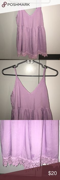 Tobi Purple Romper Light purple romper, lace designed at the bottom, zip up in the back, NEVER WORN, a little wrinkly because it was folded in my closet, all you have to do is iron! Very cute and comfortable for summer! (Ironed a little bit that's why some water is on it!:) LuLus Dresses