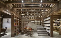 Gallery of Librairie Avant-Garde - Ruralation Library / AZL Architects - 13 Library Architecture, Stairs Architecture, Architecture Details, Interior Architecture, Interior Design, Wooden Architecture, Low Cost Housing, Building Stairs, Adobe House