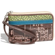 for reference -Bottom Width: 6 1⁄2 in  Middle Width: 6 1⁄2 in  Top Width: 6 1⁄4 in  Depth: 3⁄4 in  Height: 4 1⁄4 in  Handle Length: 13 1⁄4 in  Handle Drop: 6 1⁄2 in  Fossil 'Key-Per' Coated Canvas Wristlet
