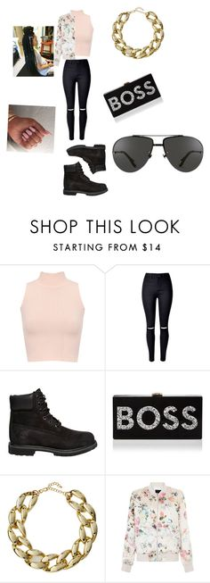 """""""Bored asf 👀"""" by maexox123 ❤ liked on Polyvore featuring WearAll, Timberland, Milly, Kenneth Jay Lane, New Look and Linda Farrow"""