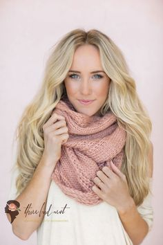 Knitted Infinity Scarf, Cute Scarves, Women's Fashion Accessories, Pink, Coral, Cozy Fashion Scarves for Fall (SCF-65)