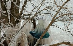 Icicle Slip is was installation on the wintery shores of Lake Ontario. The garment was placed on a branch and it was slowly encased in ice as the cold water splashed onto it. Eventually the entire area was covered in ice obscuring the slip and when the thaw came, erosion caused the branch to fall in the water, releasing the silk slip to the watery depths of the lake - Nicole Dextras