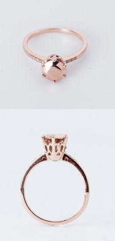 Rose Gold Solid Diamond Ring