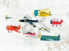 Airplanes On The Move, Transportation Art Prints | Oopsy Daisy