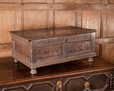 Rare James I oak carved table box, dated Marhamchurch antiques Medieval Furniture, Gothic Furniture, European Furniture, Antique Furniture, Home Furniture, Antique Wooden Boxes, Coffer, Wooden Crafts, Casket