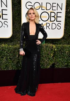 Golden Globes 2017 Kristen Bell in a Jenny Packham dress