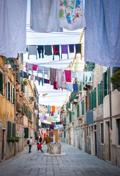 Laundry Day, Venice, Italy. Almost looks like a laundry party.