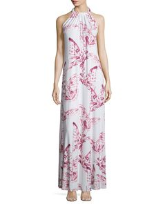 Renee Halter Butterfly-Print Long Dress, Women's