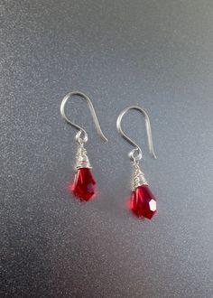 Siam Red crystal drop earrings – Christmas gifts under 35 – wire wrapped earrings – red crystal earrings – Swarovski crystal earrings by Mishalijewellery on Etsy