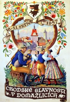 These pretty dancers remind me of the ones on our Aspen hotel facade!  Czechoslovakia folk festival poster 1957