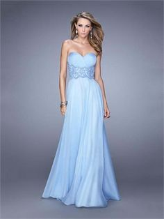 A-line Sweetheart Beadings Waistband Chiffon Prom Dress PD11893