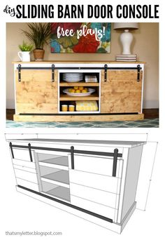 DIY sliding barn door console free plans