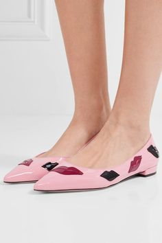 Prada - Appliquéd Patent-leather Point-toe Flats - Baby pink - IT36.5