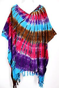 hippie clothes for plus size | ... Tie Dye Batik Poncho Caftan Tunic Hippie Top Plus Size 4X 5X 6X | eBay