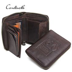CONTACT'S Men Wallets Genuine Leather Brand Design Zipper Purses Bicycle Print Designer Mens Purses Money Bag With Coin Pocket