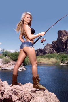 Reel Sexy Fishin' | Sexy woman fishing | See more sexy women at http://www.sexy-calendars.net