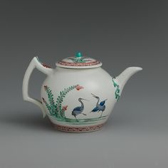 Chantilly | Teapot with storks | French, Chantilly | The Met Chantilly (French) Date:ca. 1735–40 Culture:French, Chantilly Medium:Soft-paste porcelain painted with colored enamels over tin glaze