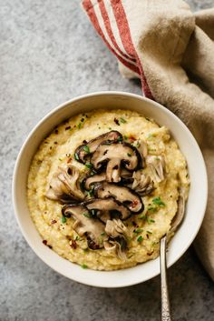 the 4 Cycle Solutions Japanese Diet - Cauliflower Polenta with Sauteed Mushrooms by /healthynibs/ Discover the Worlds First & Only Carb Cycling Diet That INSTANTLY Flips ON Your Bodys Fat-Burning Switch Vegetarian Recipes, Cooking Recipes, Healthy Recipes, Grilled Tofu Recipes, Japanese Diet, Cycling Diet, Carb Cycling, Good Food, Yummy Food