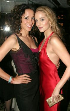 Jennifer Beals and Elizabeth Berkley on the set of The L Word