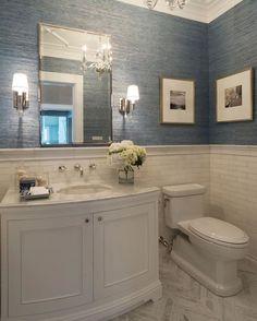 Powder Bathroom Remodel Powder Room Design Pictures Best Ideas On Half Bathroom Remodel Blue Wallpaper For Powder Bathroom Remodeling Ideas Bathroom Renos, Bathroom Flooring, Bathroom Renovations, Bathroom Interior, Bathroom Ideas, Bathroom Small, Bathroom Organization, Bathroom Marble, Bath Ideas