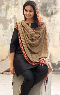 Black Silk Salwar Kameez with Handloom Dupatta - everyday elegant Indian Suits, Indian Attire, Indian Wear, Punjabi Suits, Ethnic Fashion, Asian Fashion, Indian Look, Desi Wear, The Jacksons