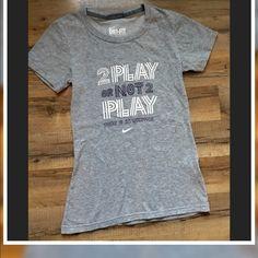 "Nike✅Dri-Fit S/S Crewneck Tee Shirt Nike Dri-Fit S/S Crewneck Tee shirt ""2 Play or Not 2 Play There is no question "" Gray w/white & Purple print .. No holes/ No stains/✨Clean✅ Size-XS Nike Tops Tees - Short Sleeve"